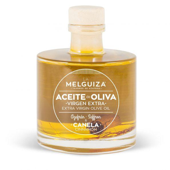 Aceite de oliva virgen extra con canela y azafrán